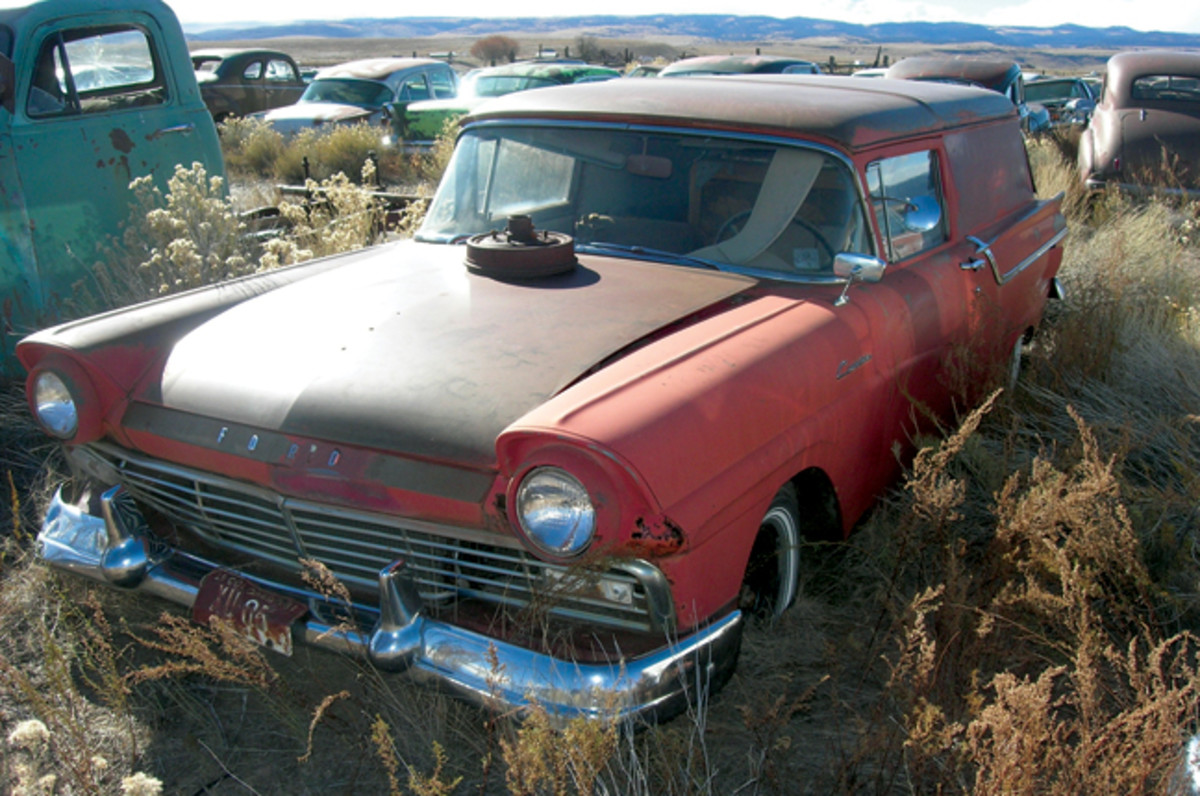 Still equipped with wide whitewall tires, this 1957 Ford Courier sedan delivery has a damaged tailgate, but is near complete and rust free. Ford build just 6,178 of this model in '57, so getting this one back on the road would make a unique project for someone.