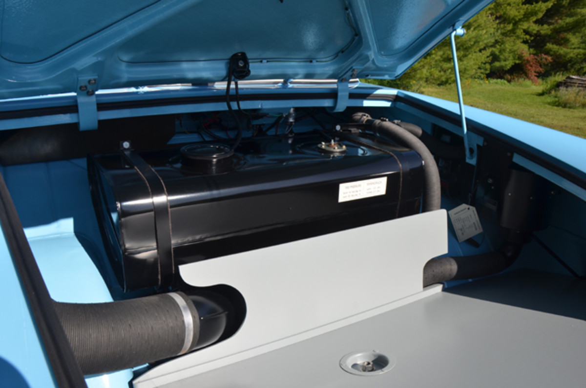 The fuel tank resides in the bow of the vehicle.