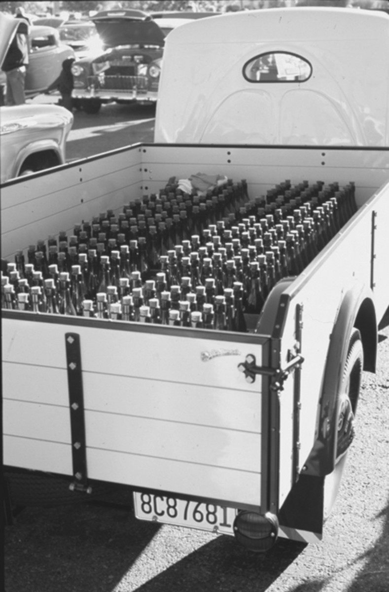 For display purposes, Eric Parsons located vintage cases of empty Weizenbier bottles to add to the Matador's beer delivery theme.