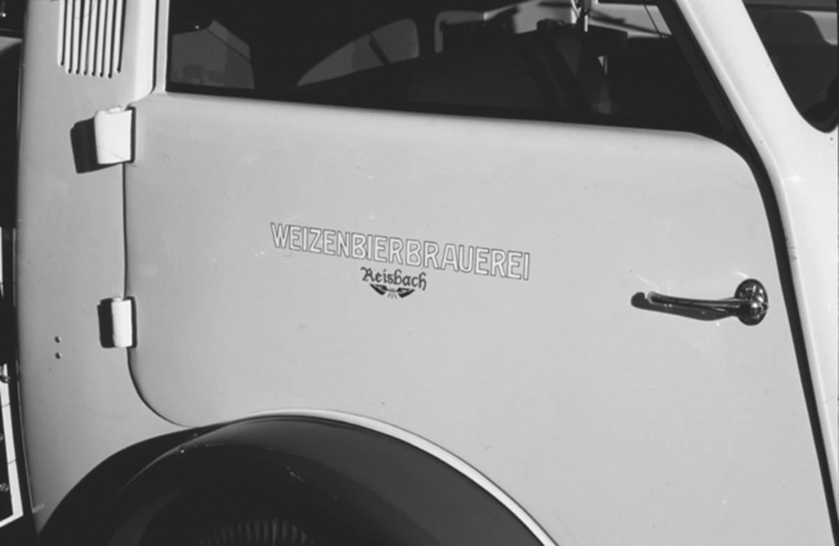 The German Weizenbierbrauerei (Wheat Beer Brewery) logos adorn each of the Matador's cab doors.