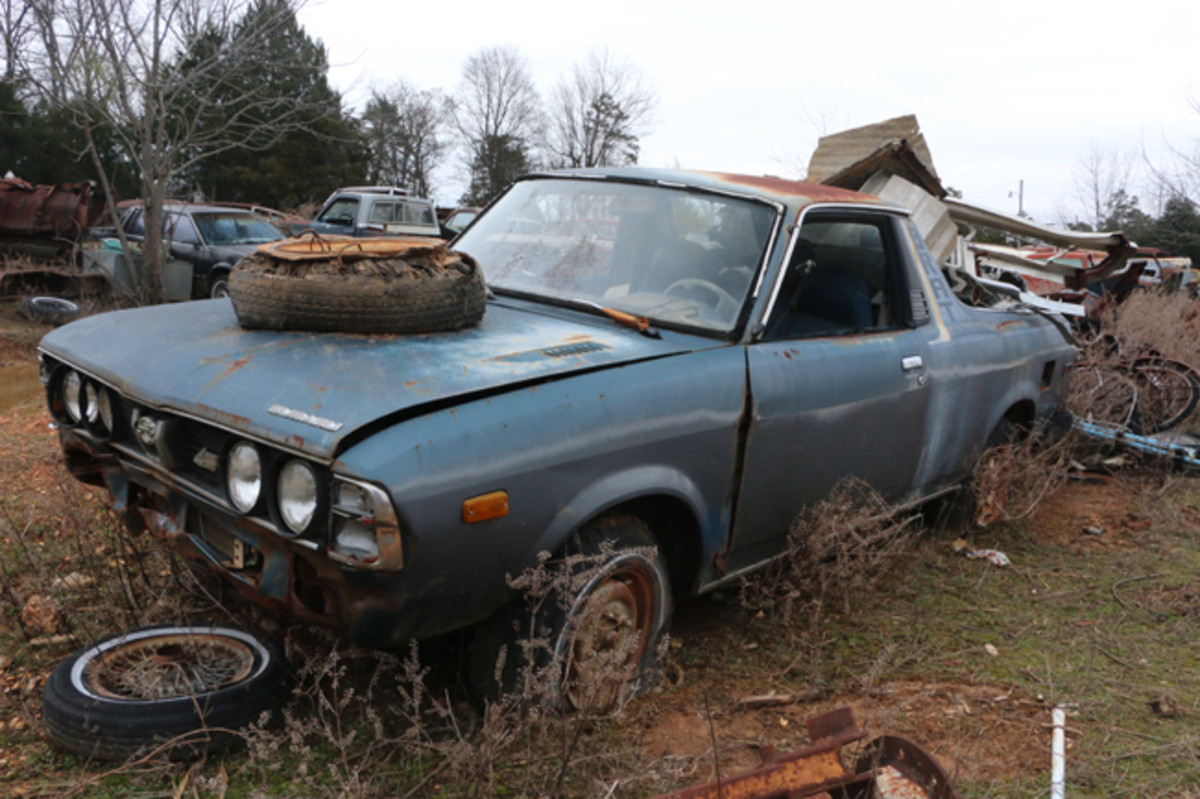There are very few foreign cars in the yard. This Subaru Brat is available for parts removal.
