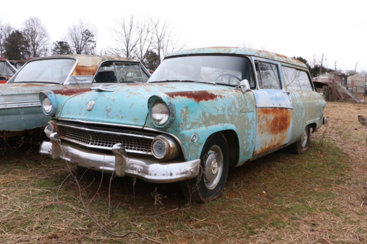 Watts says he'd like to sell this 1955 Ford Ranch Wagon as a complete car. It has a good engine and title.