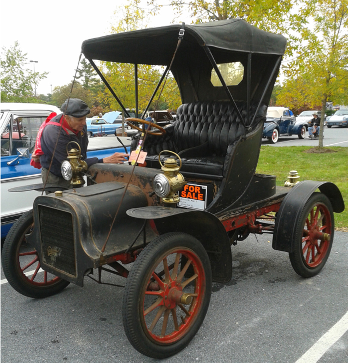 This driver-quality 1906 Cadillac Model K was available for $63,000 in the car corral. Its great patina made it a good contender for Horseless Carriage Club of America tours.