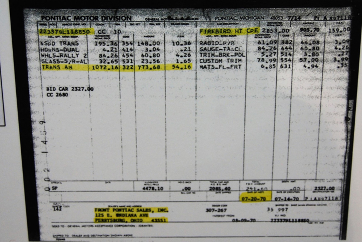 The updated invoice issued by Pontiac in 1970.