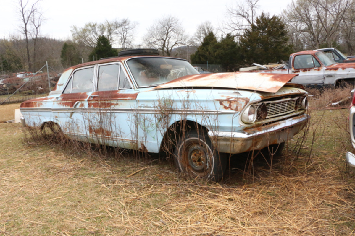 The engine and transmission are gone from this 1964 Ford Fairlane 500.