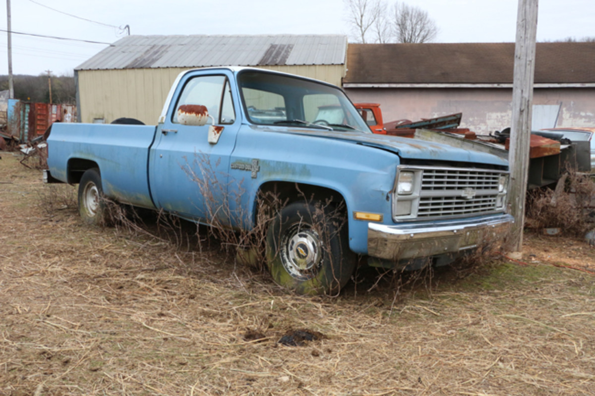 The engine on this 1982 Chevy Custom Deluxe long wheelbase pickup runs, but has a knock. It can be bought as a unit, or parted out.