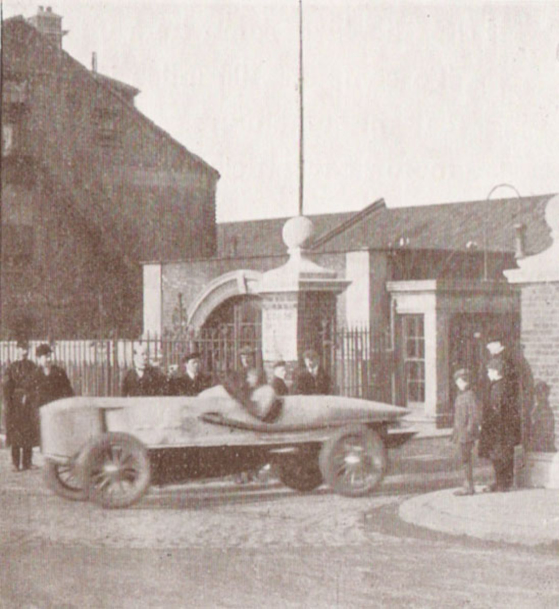 100 mph car leaving Ladbroke Hall in 1913, driven by Percy Lambert on his way to a world record and fame at Brooklands race track.