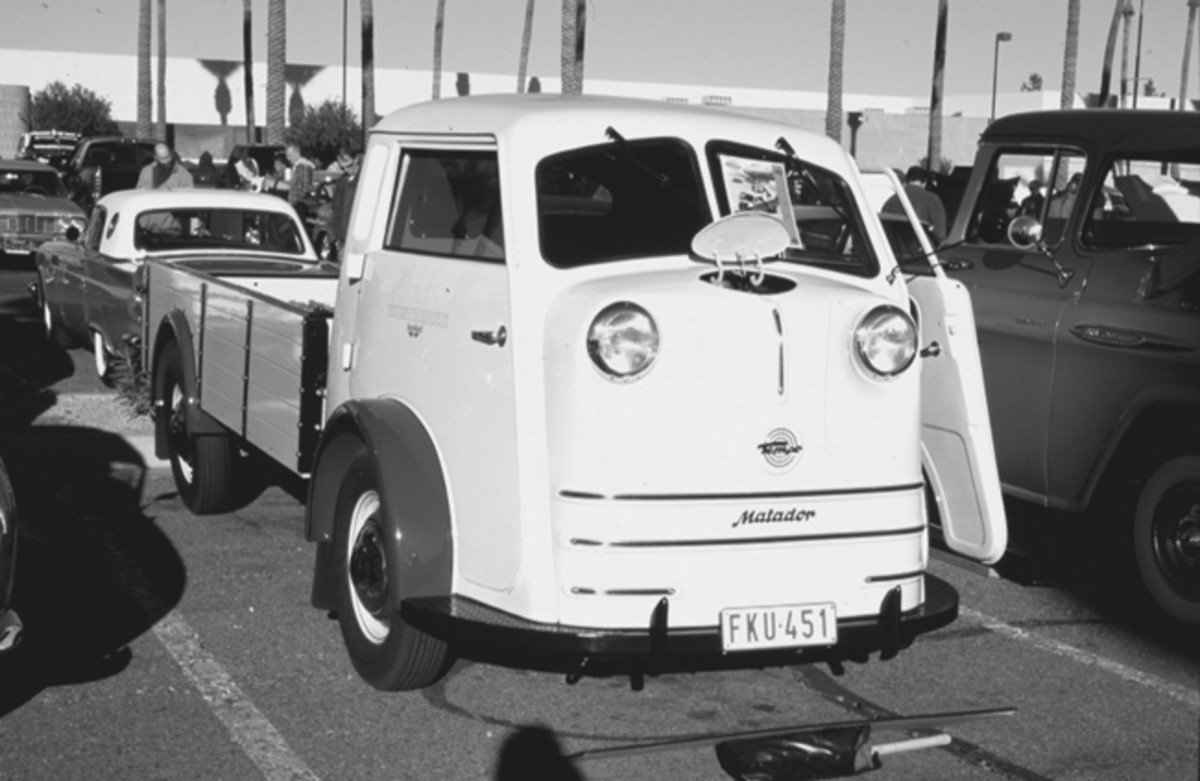 Eric Parsons' restored 1951 Tempo Matador beer delivery truck, as displayed in Scottsdale, Ariz.