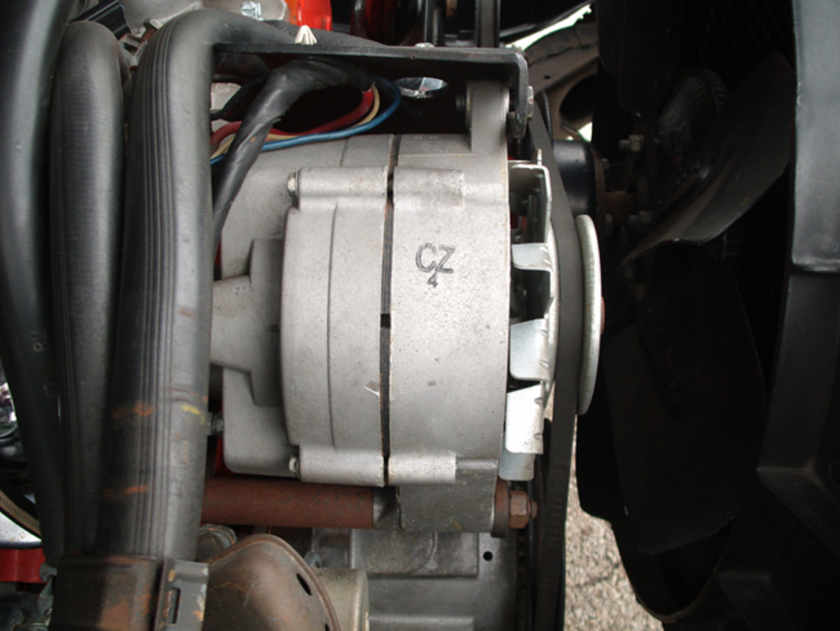 Bimbi's unrestored Chevelle still retains its original alternator, which carries the CZ4 code. The presence of a stamped code such as this is important in an authentic restoration