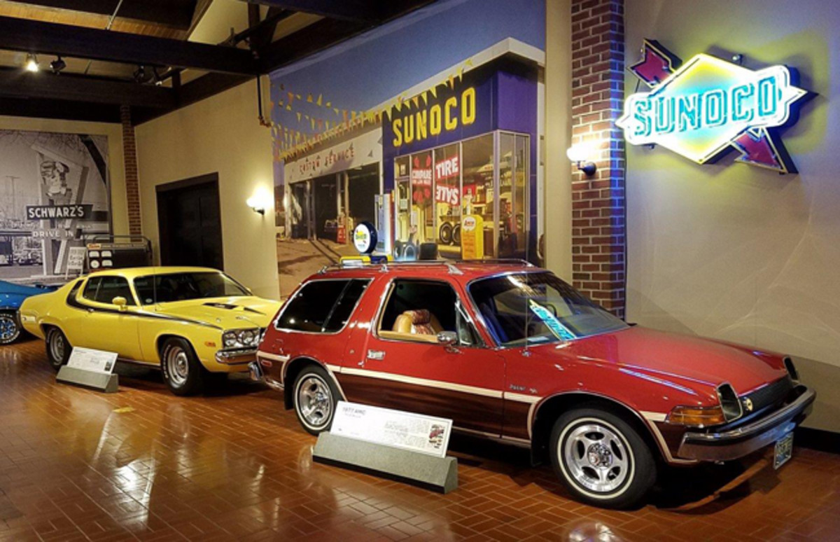 """Fuel shortages, stricter federal emission controls and high insurance premiums marked the end of the muscle car era. The 1974 Plymouth and the 1977 AMC Pacer Wagon displayed at the Gilmore Car Museum's muscle car exhibit highlights the last of the high-performance """"gas guzzlers"""" and growing demand for smaller, fuel efficient cars."""