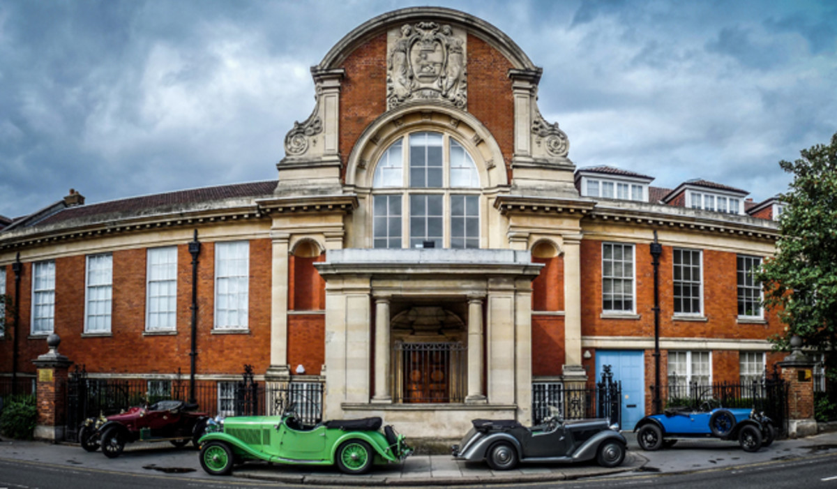 Four eras of Talbots at Ladbroke Hall, cars shown from left to right: 1914 model 12hp Piano back 2 seater – 1932 model 105 vdp Alpine Tourer (This Talbot is one of the three famous Alpine Trial Talbot team cars which won the 1932 Alpine Cup Team Prize without loss of marks), 1938 model 10 Sports Tourer, 1925 model 10/23 Two Seater and Dickie.