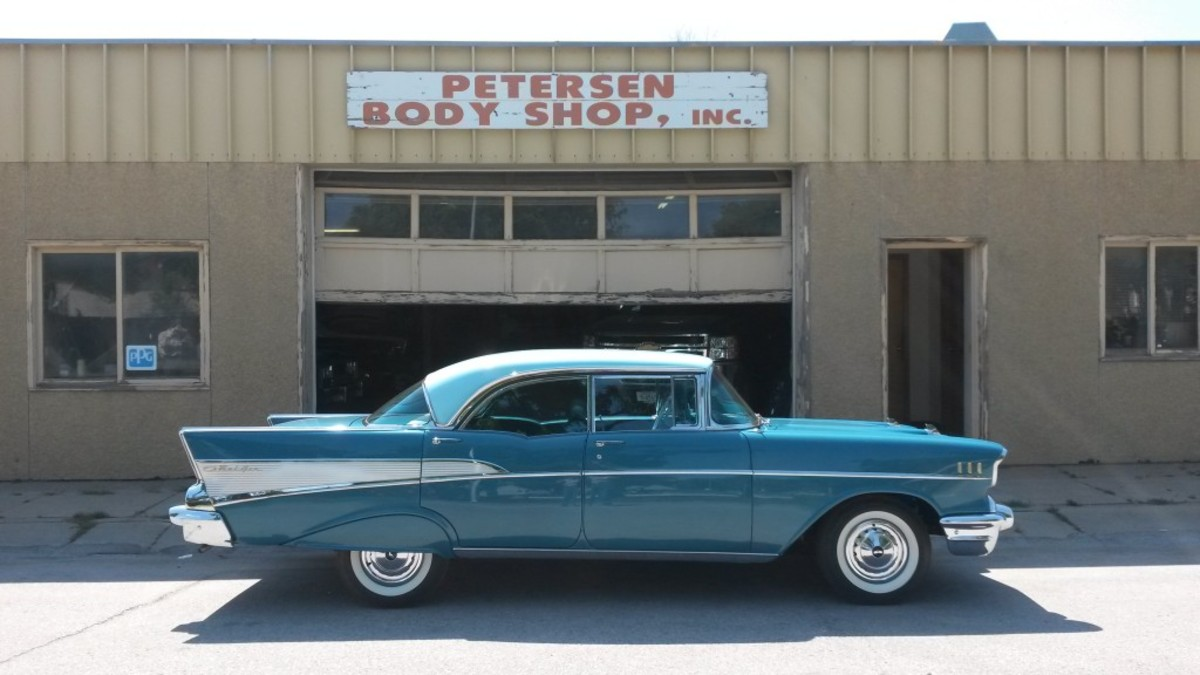 The restored 1957 Chevrolet Bel Air Sport Sedan outside Petersen Auto Body, the Fremont, Nebraska, business that recently restored the car.
