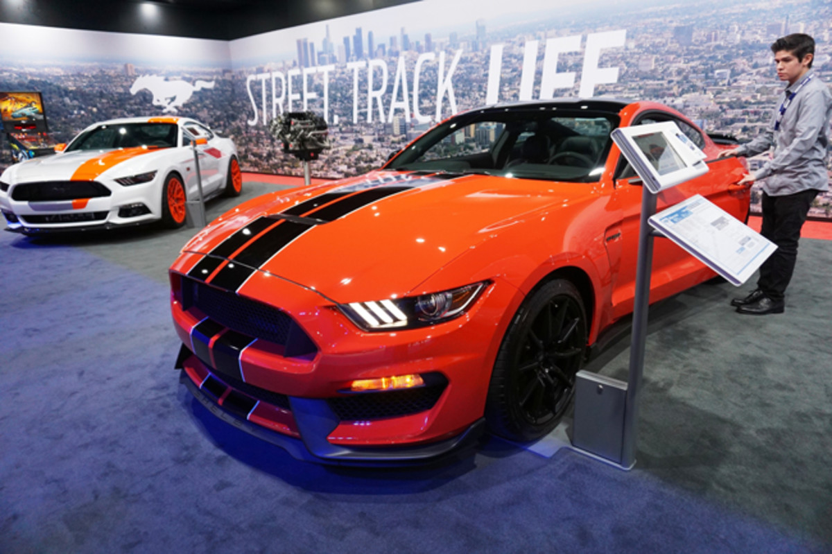 LOS ANGELES, USA - NOVEMBER 19: Ford Shelby GT350 Mustang is seen during the official opening ceremony of Los Angeles Auto show in Los Angeles, USA on November 19, 2015. (Photo by Mintaha Neslihan Eroglu/Anadolu Agency/Getty Images)