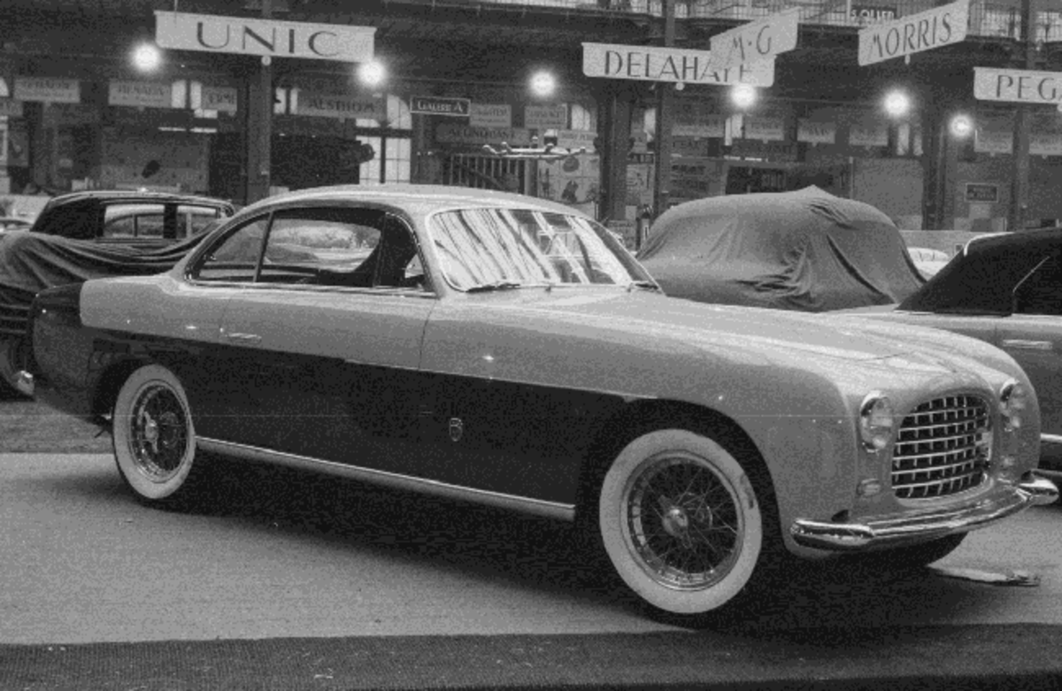The one-off Ghia bodied 1952 Ferrari 212 Inter Coupe formerly owned by Juan Perón, on display at the 1952 Paris Motor Show (Credit - Courtesy of The Revs Institute, Rodolfo Mailander Photograph Collection)