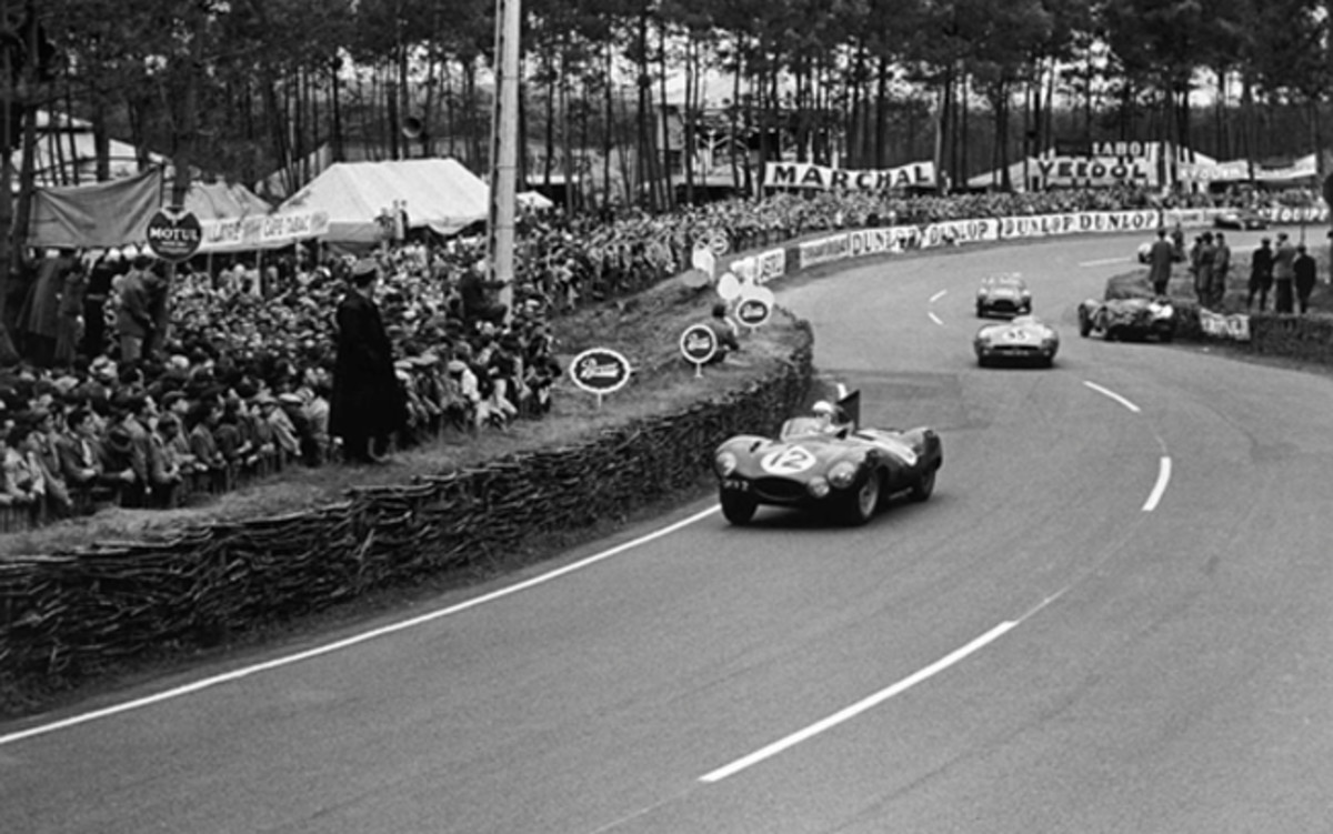 Le Mans, France. 12th - 13th June 1954. Stirling Moss behind the wheel of Jaguar D-Type, XKD 403 (Credit - LAT Images)