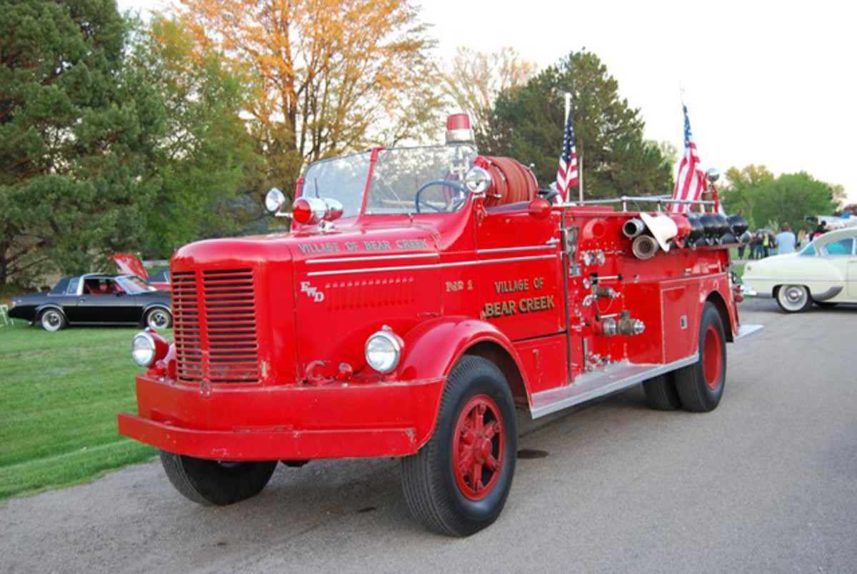 Volunteer firefighters in the small village of Bear Creek, Wis., restored this FWD fire engine as a department project.