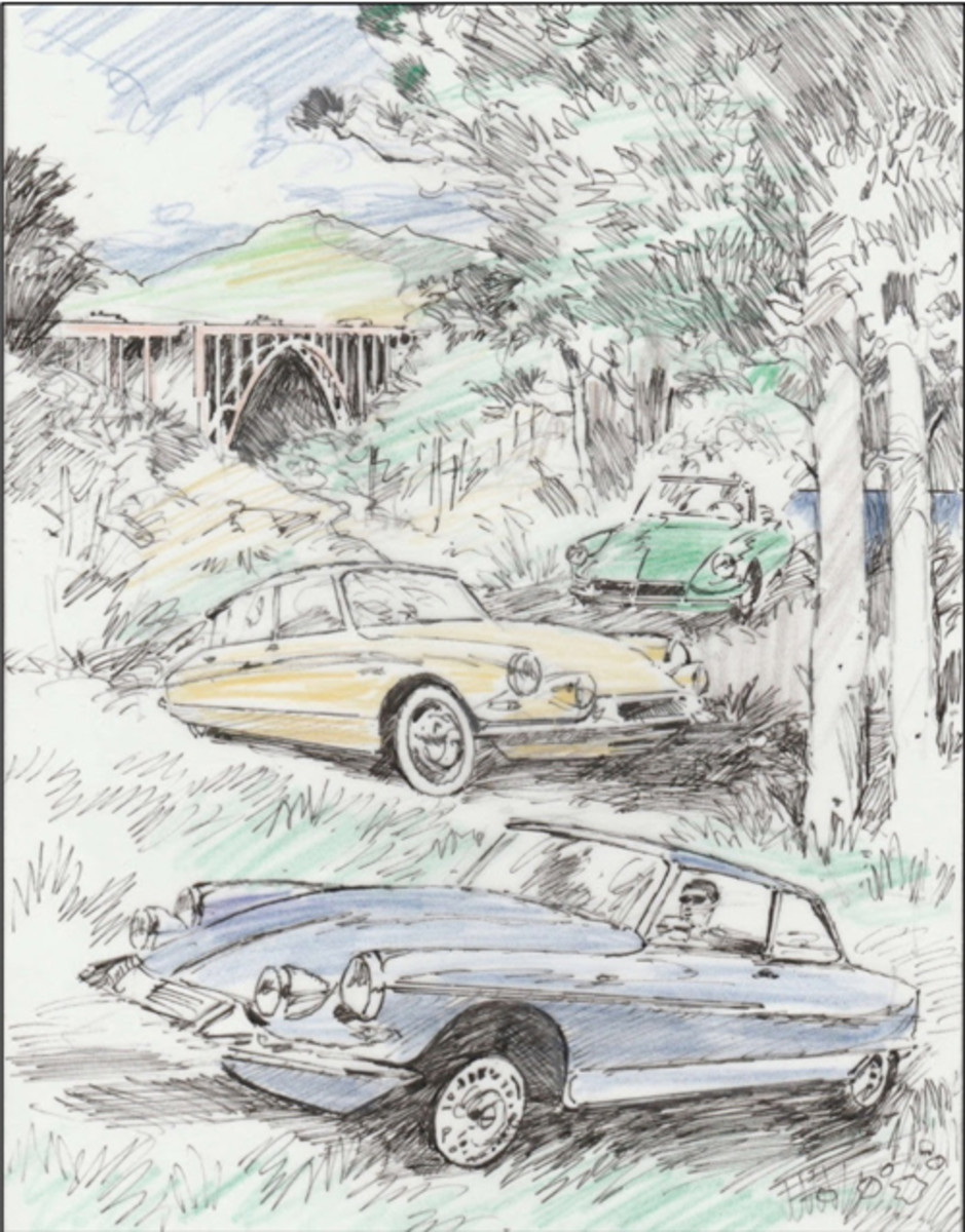 The 2018 Tour poster marks Barry Rowe's 20th anniversary as an artist for the Concours. As a member of the Automotive Fine Arts Society (AFAS) and an automotive enthusiast, Rowe explores the evolving relationship between automobile, society, and daily life. He is lauded for his use of light and color that capture every car at its finest. With Rowe's work, the Concours celebrates the debut of Citroën as a featured marque.