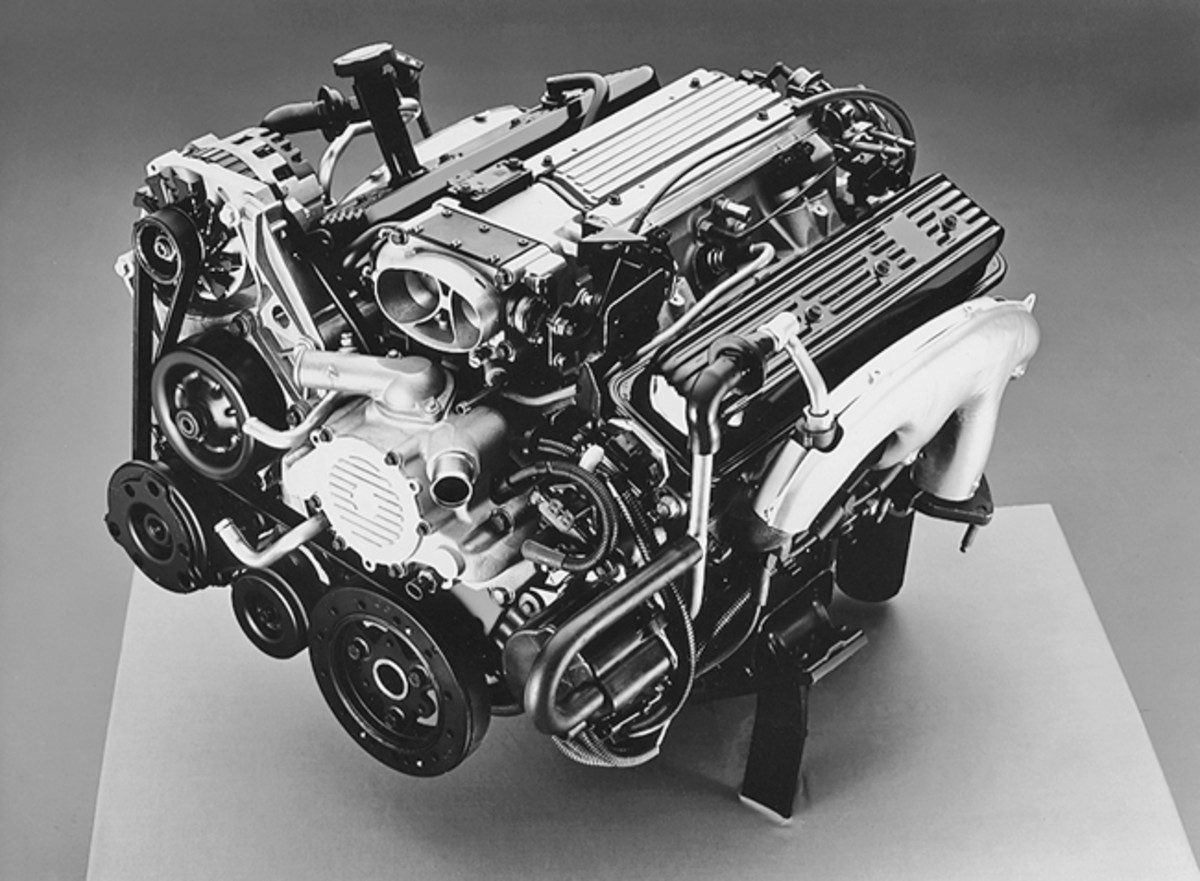 "The new-for-1994 Gen II 5.7-liter (350-cid) V-8 used in the Fleetwood and Fleetwood Brougham. This engine is pictured without its recognizable triangular black plastic cover. Many hobbyists refer to this engine in a Fleetwood as a ""Corvette LT-1,"" although the Gen II in a Fleetwood is technically different than the Corvette LT-1."