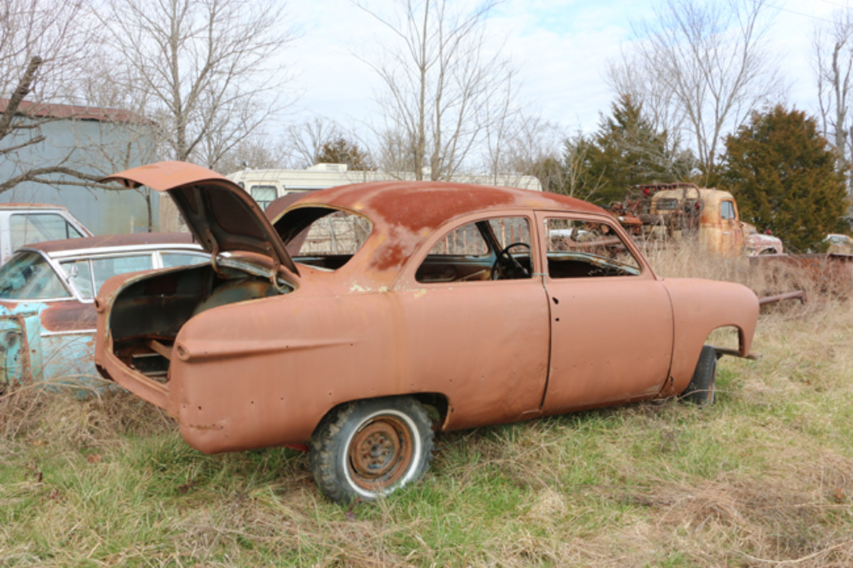 Someone has started work on this 1951 Ford two-door sedan body, but there is a lot left to do.