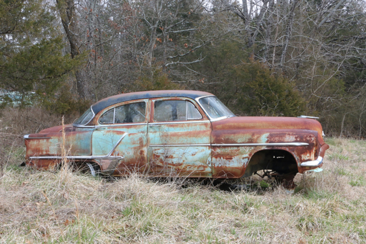 The best-selling Oldsmobile in 1953 was the Super 88 sedan with over 119,000 sold. The engine has been removed from this example of Oldsmobile's best seller.