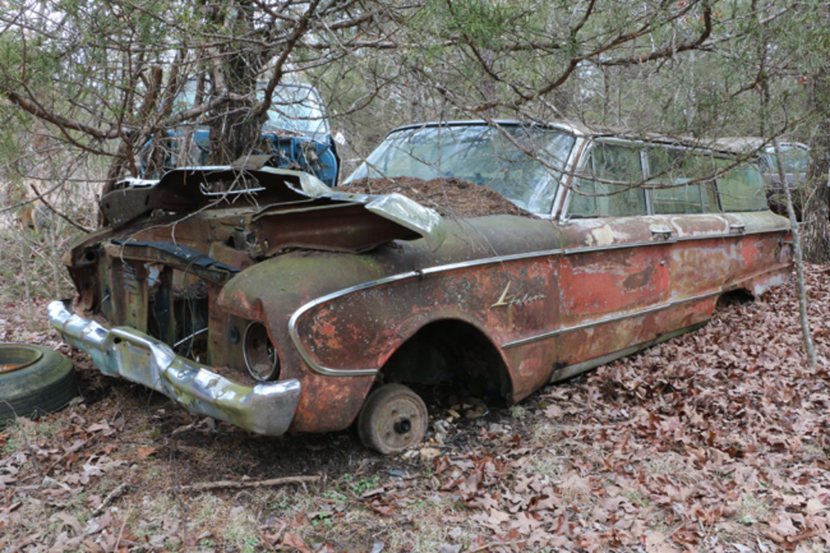 "The engine and transmission are gone, but there are body parts available on this 1961 Falcon Ranch Wagon. Ford ads proclaimed the '61 Falcon as ""The World's Most Successful New Car."""
