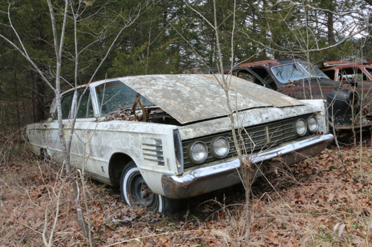 The engine is gone from this 1965 Mercury Parklane Breezeway sedan, but it still has its desirable slanted and retractable rear window.