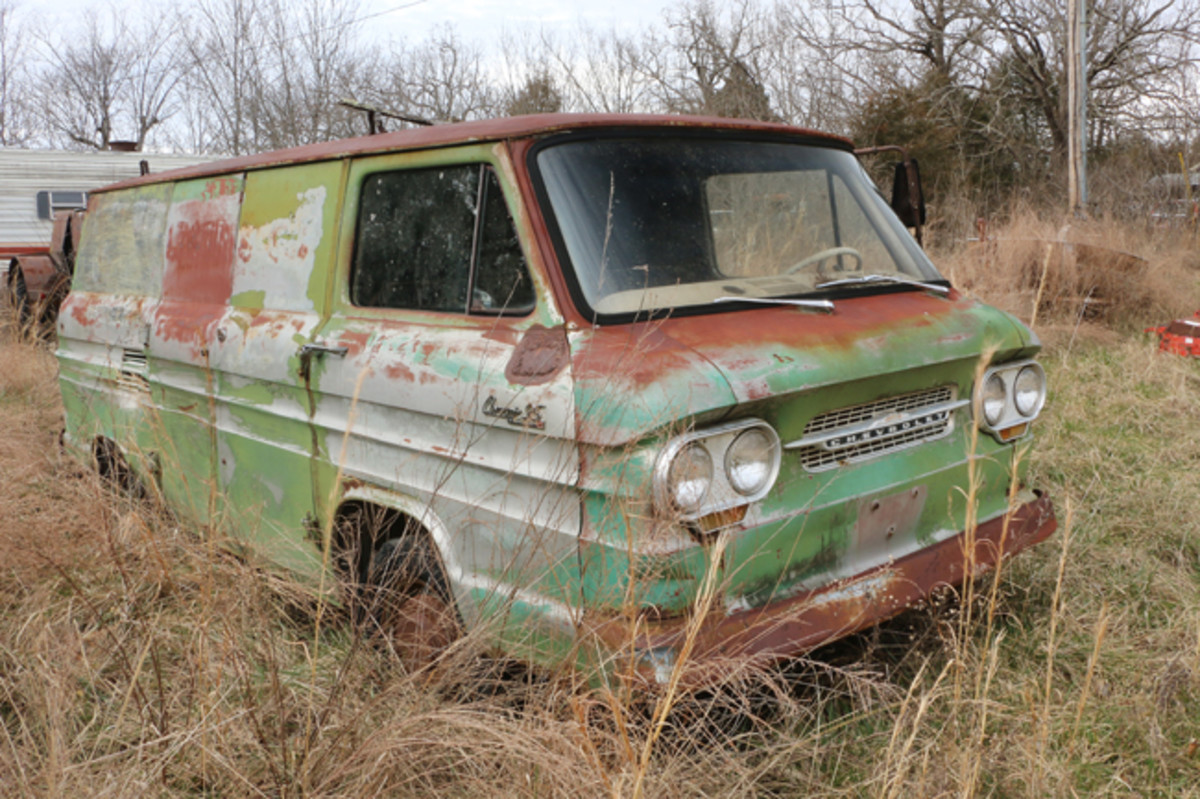 This 1963 Corvair 95 Commercial Panel Van is restorable and would be a great way to advertise a business.