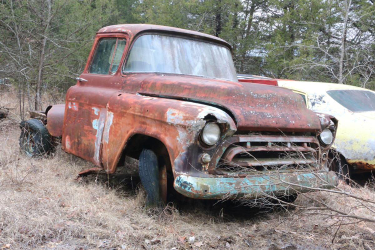 The standard painted grille appears to be the best thing remaining on this '57 Chevy truck.