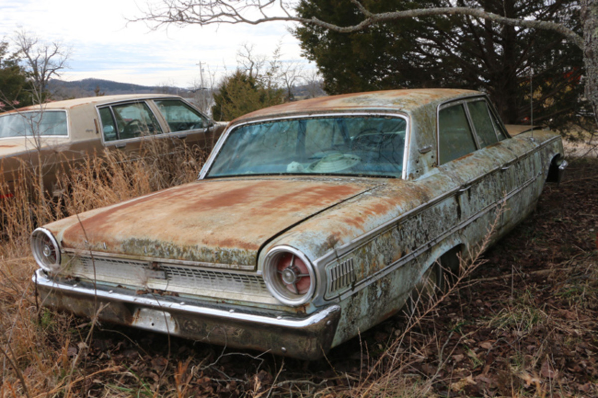 A 1963 Ford Galaxie 500 sedan is complete with engine and would make a great parts car or possibly a restoration project.