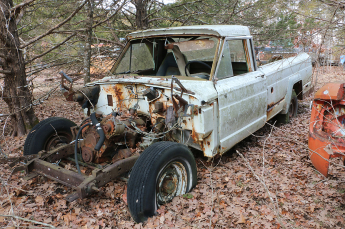 Someone has installed a Chevy small-block V-8 engine in this Willys pickup truck.