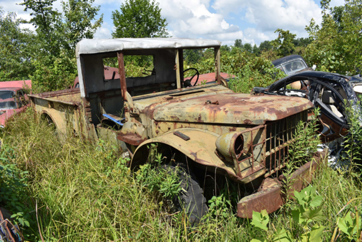 One of two Dodge M37 U.S. Army veterans we found at Purden's Auto Parts, this one is solid and could be restored to war-ready condition.