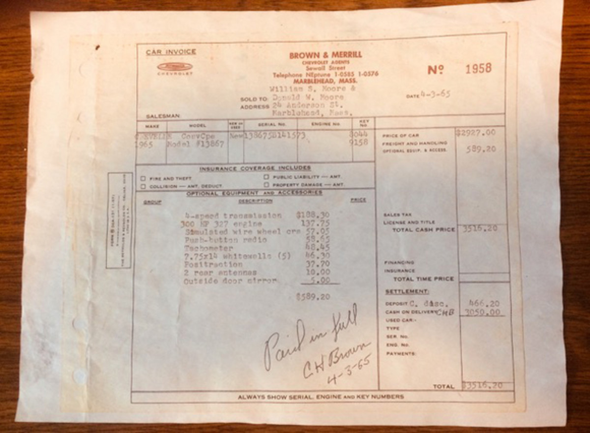 The original invoice from the Brown and Merrill Chevy dealership dates 4-3-65.