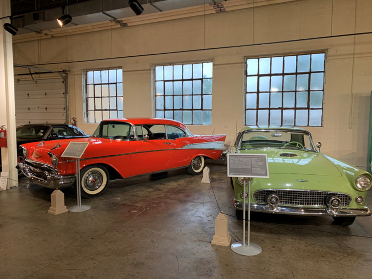 "A 1957 Chevrolet Bel Air sits next to a 1956 Ford Thunderbird in the all new ""Out Of Quarantine"" Exhibit on display beginning June 14 and running until the middle of October."