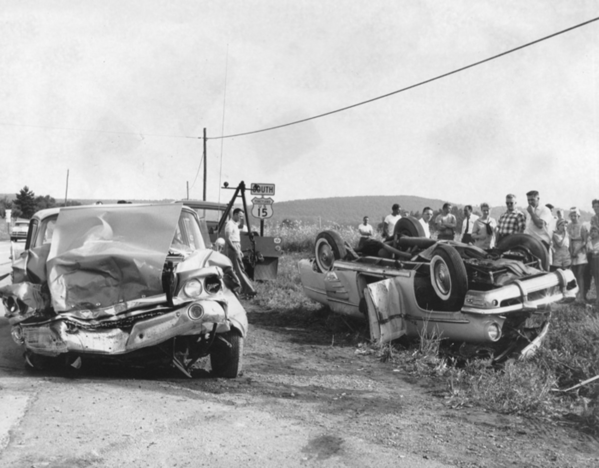 A 1959 Ford Fairlane two-door was involved in a horrendous accident with a 1953 Mercury Monterey sedan. Three people lost their lives at a congested junction in northcentral Pennsylvania where Rt. 54 crossed Rt. 15, a main artery at the time of the accident, between New York and the south.