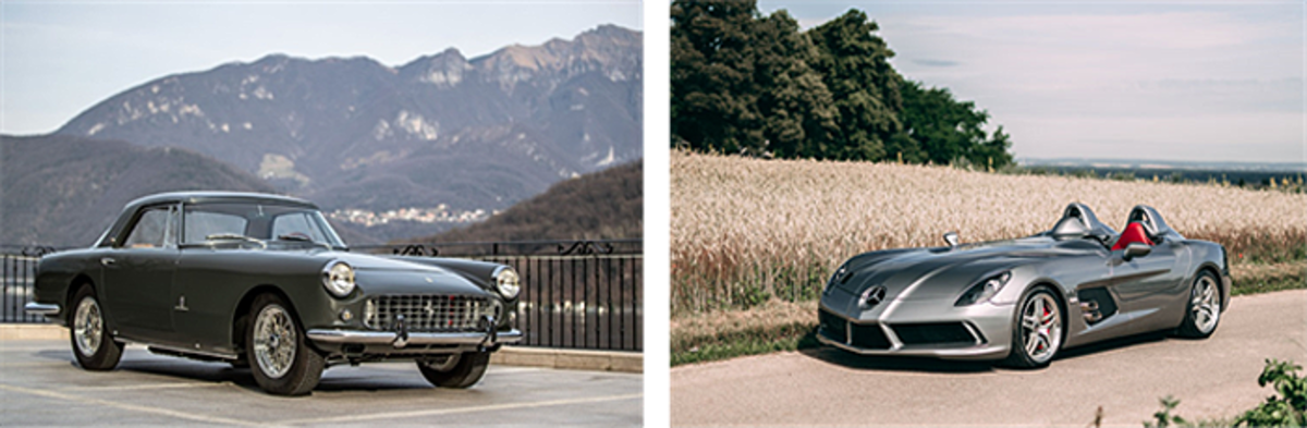 Left: 1959 Ferrari 250 GT Coupé by Pinin Farina (Credit – Uroš Modlic © 2020 Courtesy of RM Sotheby's) Right: 2009 Mercedes-Benz SLR McLaren Stirling Moss (Credit – Stephan Bauer © 2020 Courtesy of RM Sotheby's)