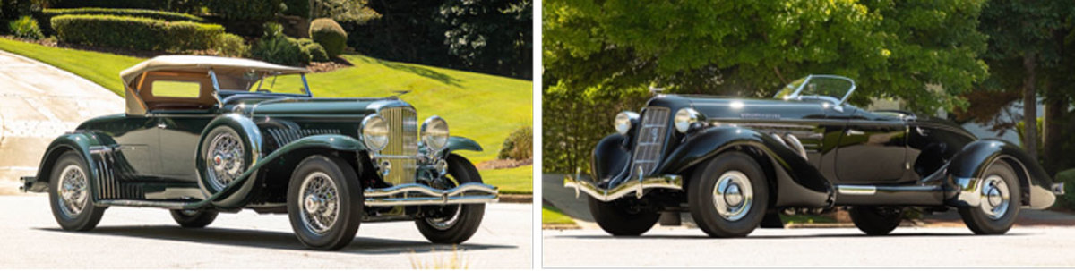 """LEFT: 1931 Duesenberg Model J Roadster """"Green Hornet"""" RIGHT: 1935 Auburn Eight Supercharged Speedster"""
