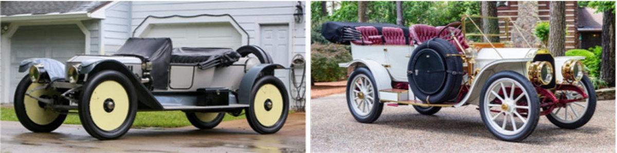 LEFT: 1912 Stanley Roadster Tribute, RIGHT: 1909 Peerless Model 19 Touring
