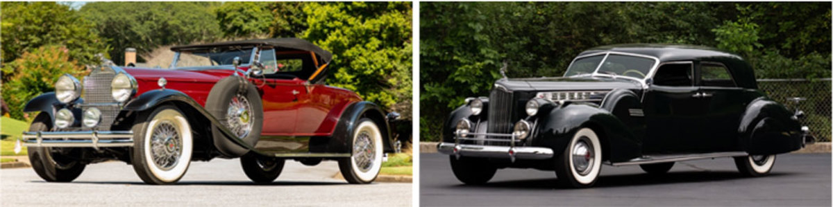 LEFT: 1930 Packard 745 Deluxe Eight Roadster by LeBaron, RIGHT: 1940 Packard Custom Super Eight One Eighty Sport Sedan by Darrin