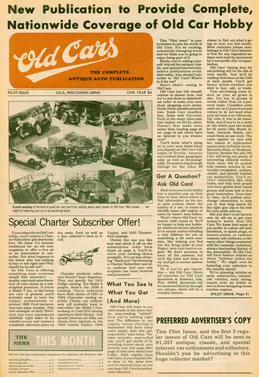The issue that launched half a century's worth of news, views and old car hobby fun!