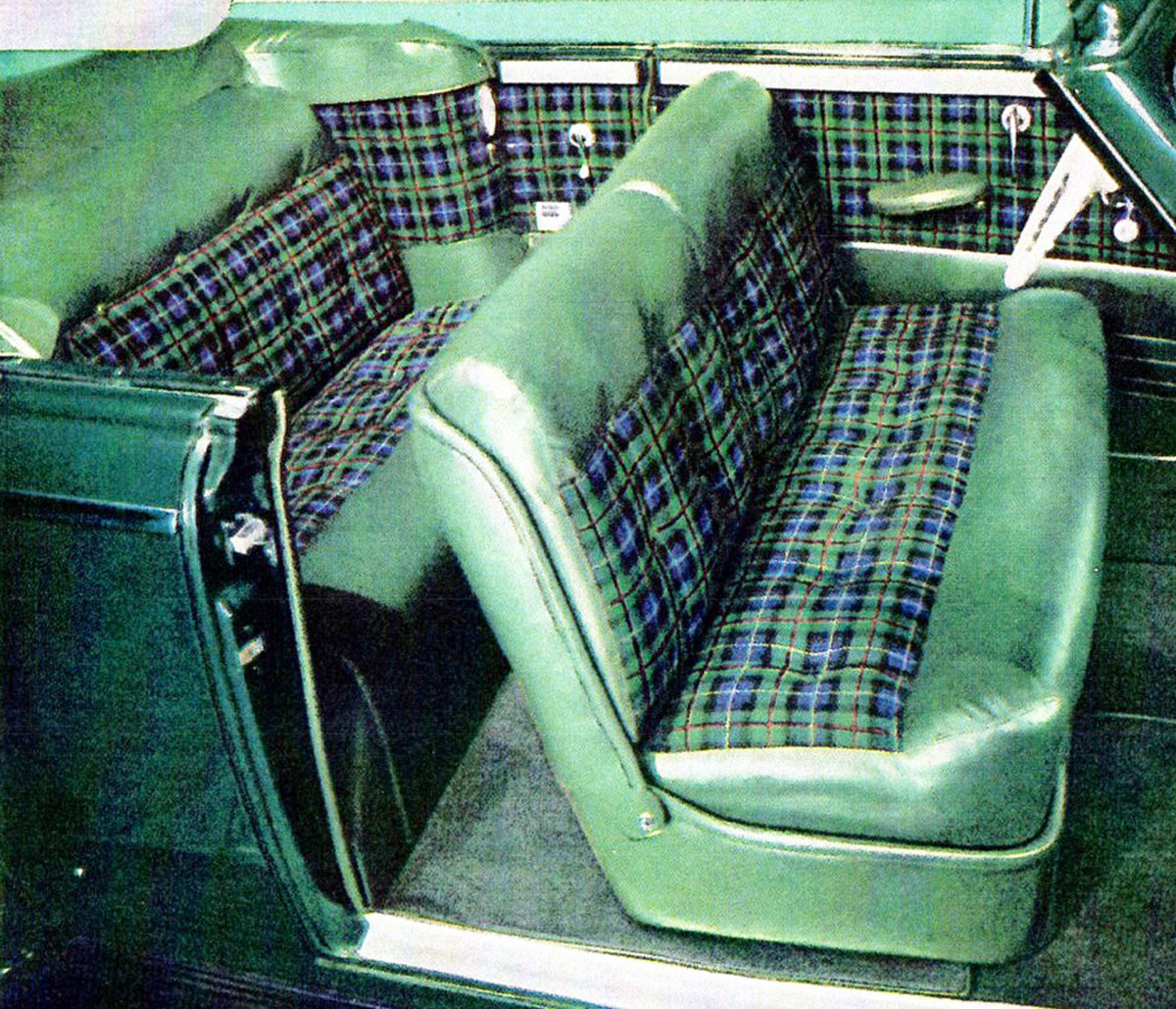 Blue and green Highlander plaid with green leather trim is  illustrated in a 1941 convertible.