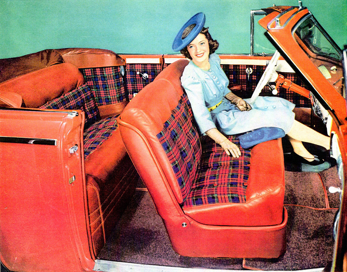 Red and blue plaid is trimmed with red leather in a 1941 convertible illustrated in the dealer showroom book.