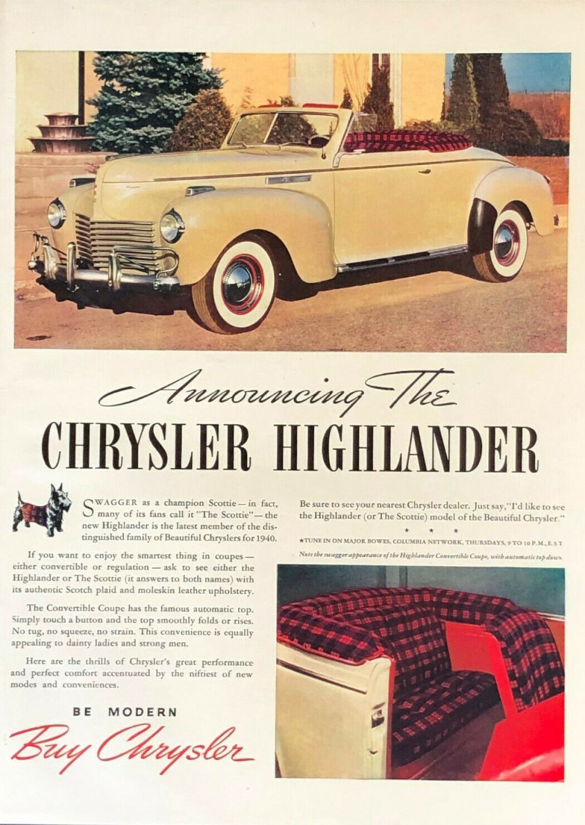 At least two different full-page magazine ads announced the Highlander option during the 1940 model year.