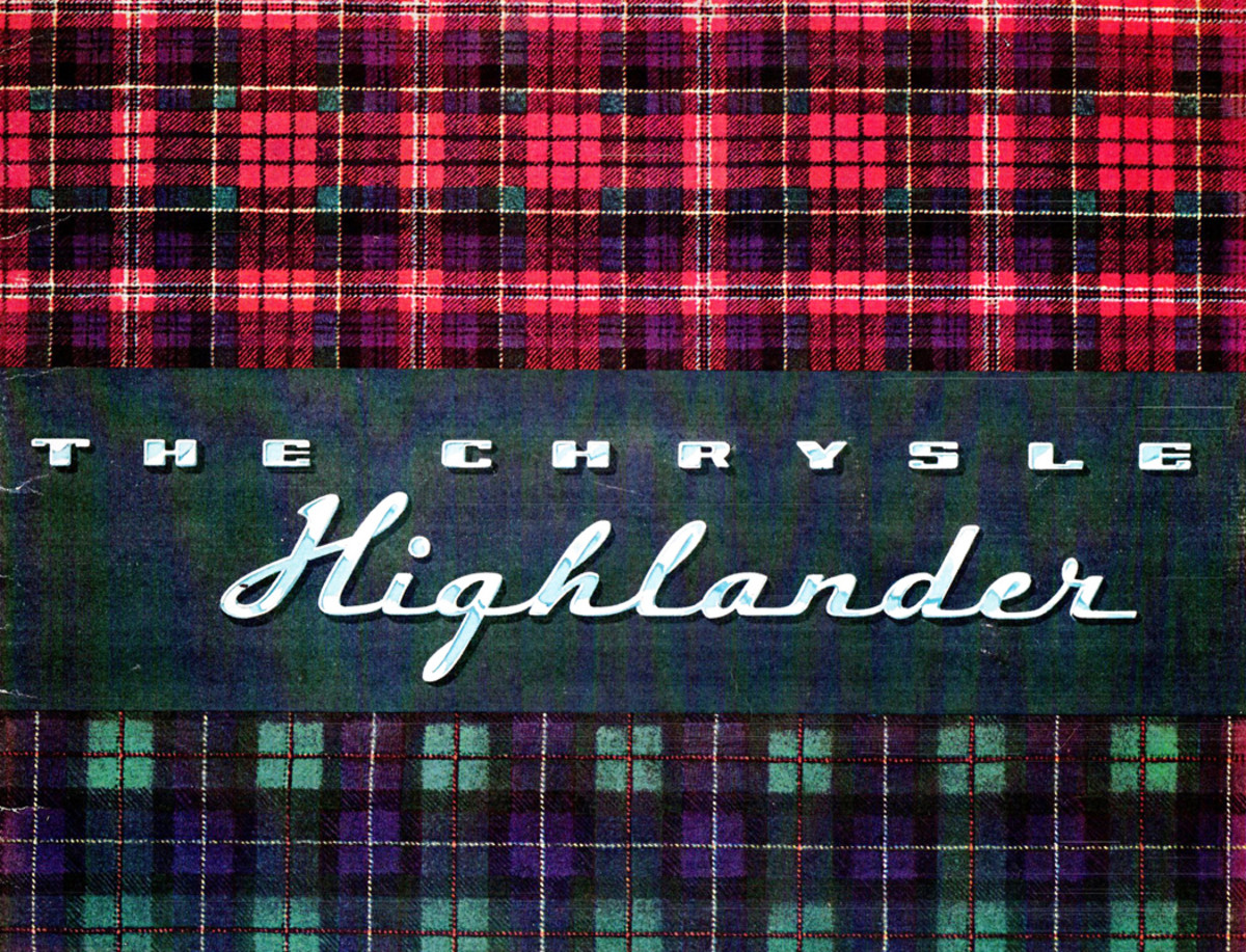 The Highlander upholstery option was introduced to Chrysler buyers in an elaborate showroom book with color fabric samples and photos of the upholstery in various models.