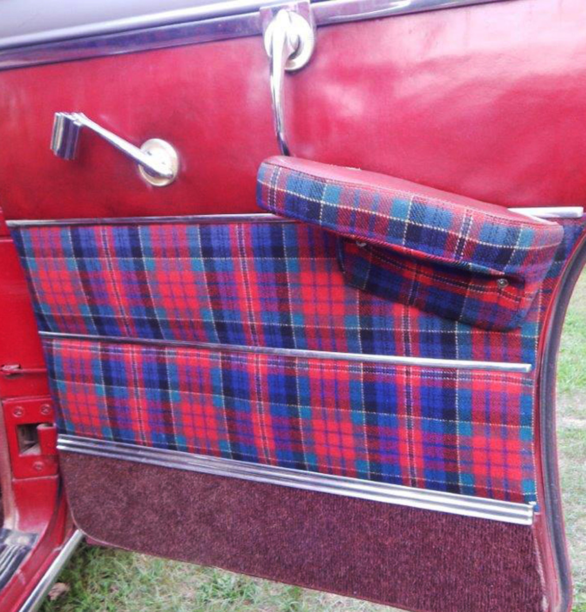 The blue and red plaid motif made its way to the doors.