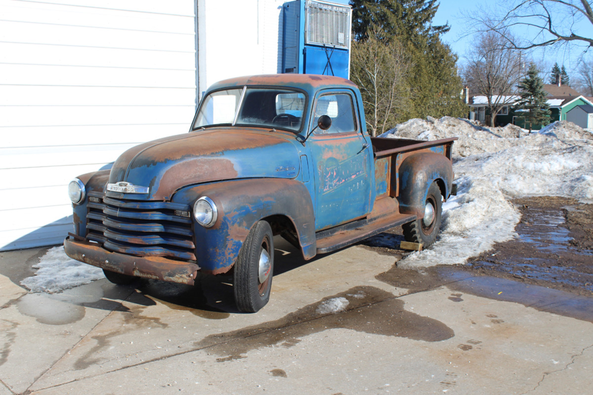 The 1949 Chevy 3600 as it appears today outside the Stevens Point Brewery