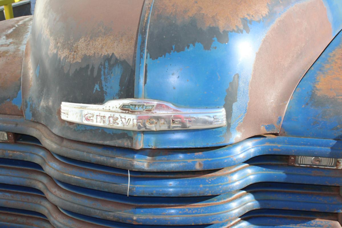 The Chevrolet emblem still intact
