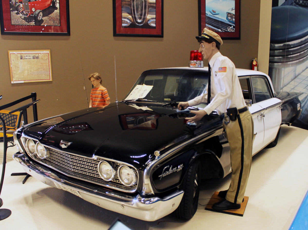 """A Mayberry """"Black-and-White"""" 1960 Ford with Barney Fife and Opie characters from """"The Andy Griffith Show"""" series is a new exhibit at the Classic Car Collection.A Mayberry """"Black-and-White"""" 1960 Ford with Barney Fife and Opie characters from """"The Andy Griffith Show"""" series is a new exhibit at the Classic Car Collection."""