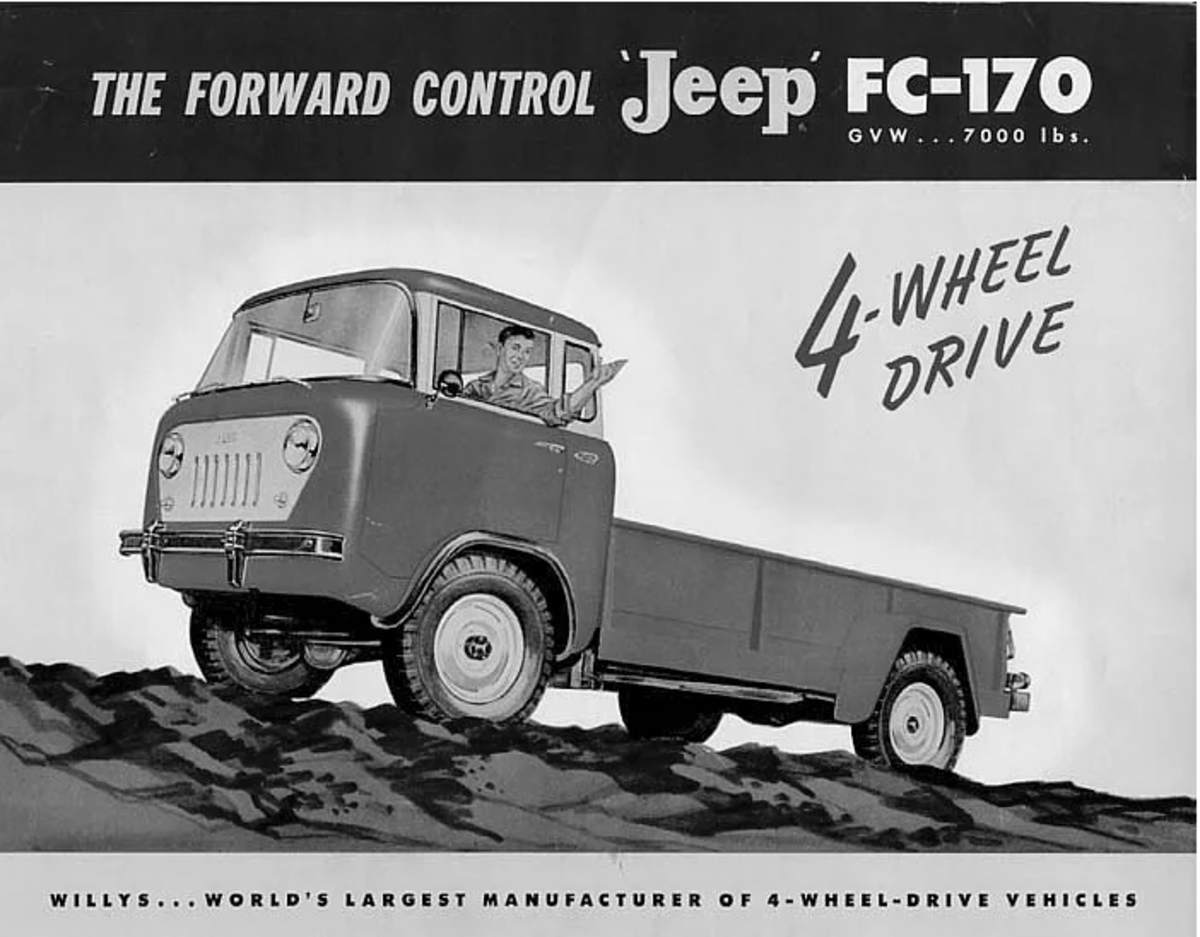 Willys introduced its new FC-170 on May 27, 1957. Weighing in at 7000 lbs gross weight, it was the heaviest truck Willys had produced up to that time.