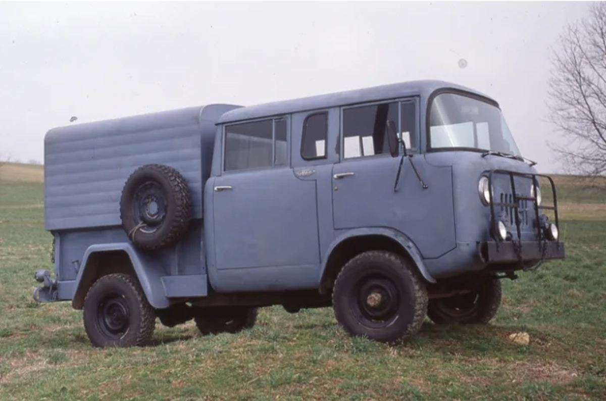 """The M-677 (Type II) was a four door, crew cab pickup with the same 103"""" wheelbase as the civilian FC170. Fred Williams' truck is complete with the blackout lighting mounted in the wide slot of the grille."""