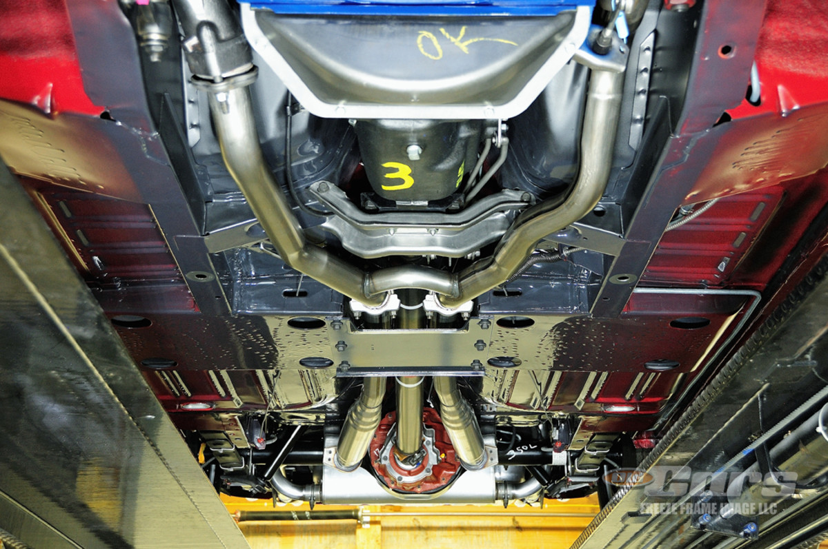 Tony King hired Jason Billups to finish up the restoration of the car and the results are spectacular, from top to bottom. The underside of the Mustang is as tidy and correct as the rest of the car.